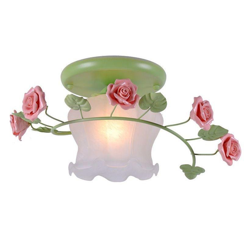Romantic Flowers Girl's Bedroom Ceiling Lamp European Hallway Ceiling Lamps Balcony Lights kinston flowers