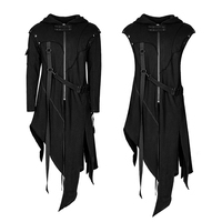 Punk Men's Gothic Darkly series Jacket removable sleeves adds Optional collocation coat
