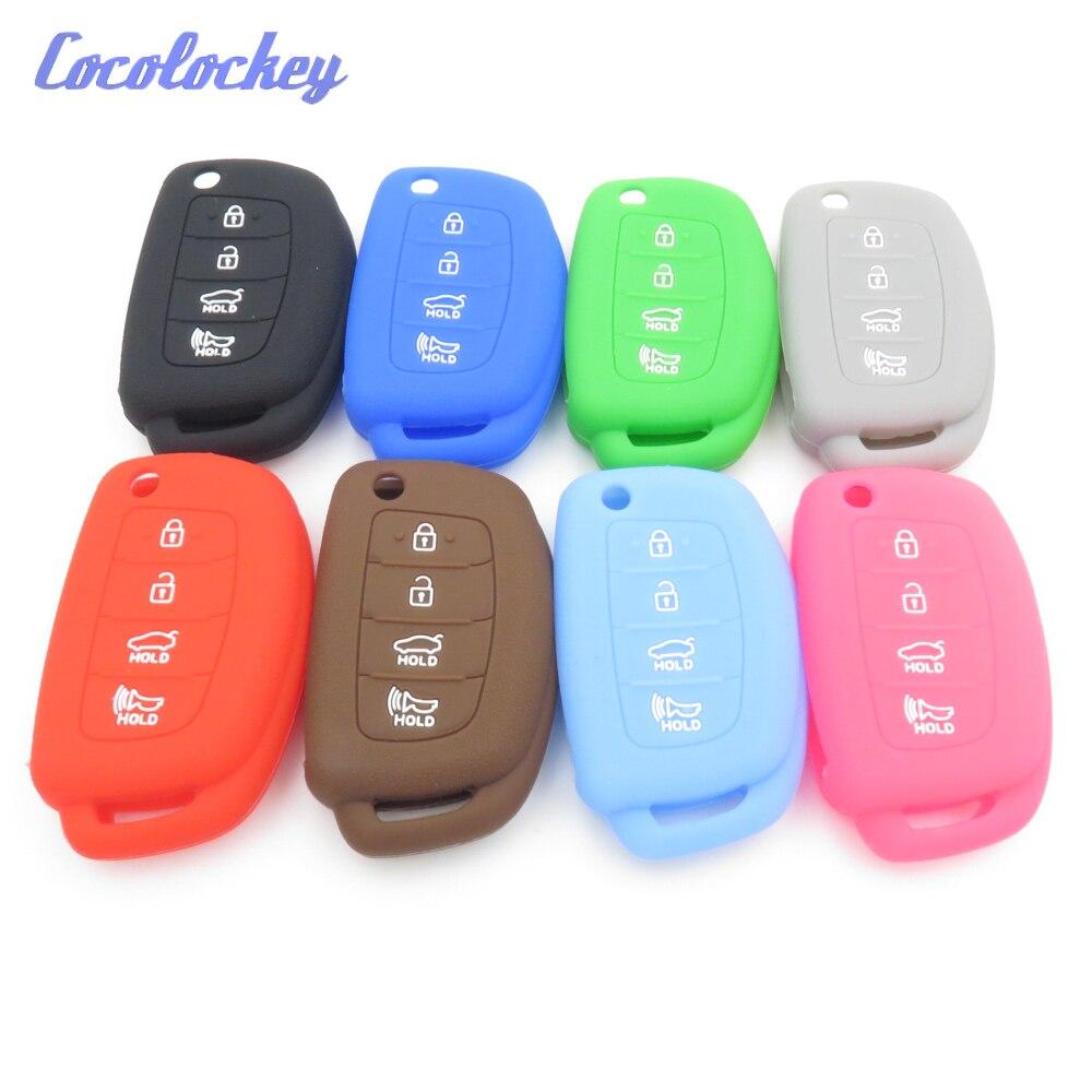 Cocolockey Silicone Rubber Car Key Case for HYUNDAI HB20 Ix45 IX35 Santa Fe Flip Remote Key Case For Car 4 Button Car Styling цена