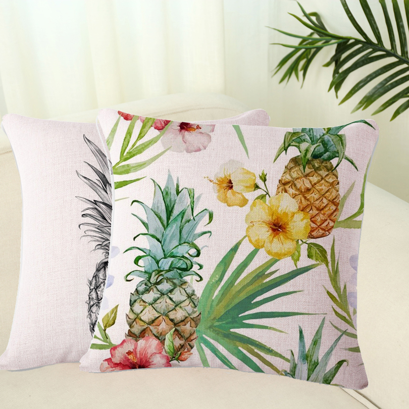 2017 1PC Soft Flax Pineapple Pillow Case Pillowslip Fruit Style 8 Colors throw Waist Cushion Pillow Slip Cover on Sale
