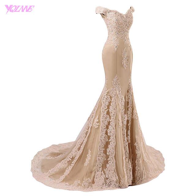 placeholder YQLNNE 2018 Off the Shoulder Mermaid Prom Dresses Long Champagne  Lace Appliques Tulle Beaded Vestido De 144ec243e127