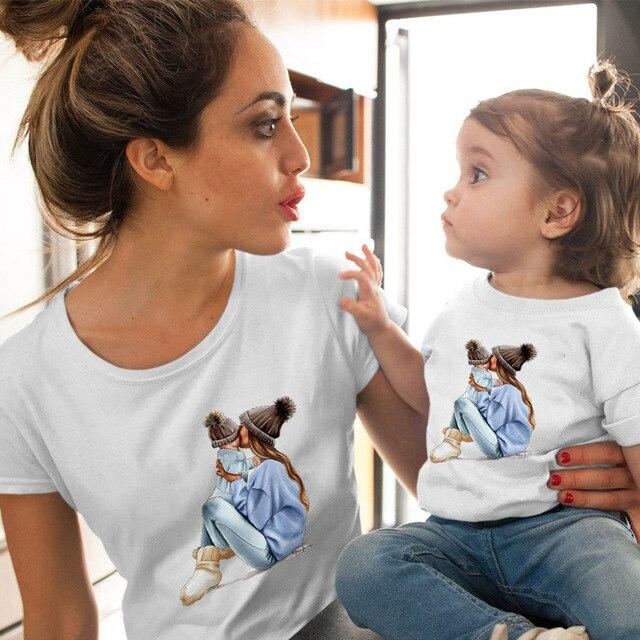 CYSINCOS Female T-shirt Famliy Matching Clothes Girl Costume Mom Daughter Summer 2019 New Print Short-sleeve Kids Boys Tops