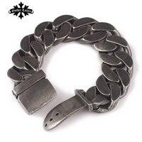 High Quality Brief Vintage Punk Bracelet For Men Stainless Steel One Direction Belt Buckle Fashion Bracelet