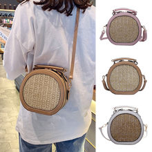 Coneed Summer The Latest Hot Sale Fashion Women Cute Weave Circular Bag Crossbody Bag Shoulder Bag 2019 Apr8 P40(China)