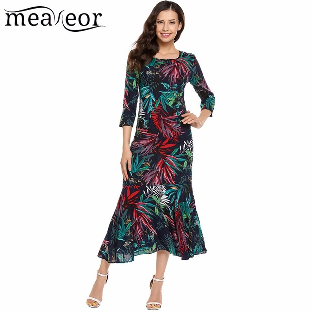 553b3803b6 Meaneor Tropical Floral Maxi Dress Print Pleated Wave Hem Women 3/4 Sleeve  Full Length Loose Dresses Casual Autumn Dress Vestido