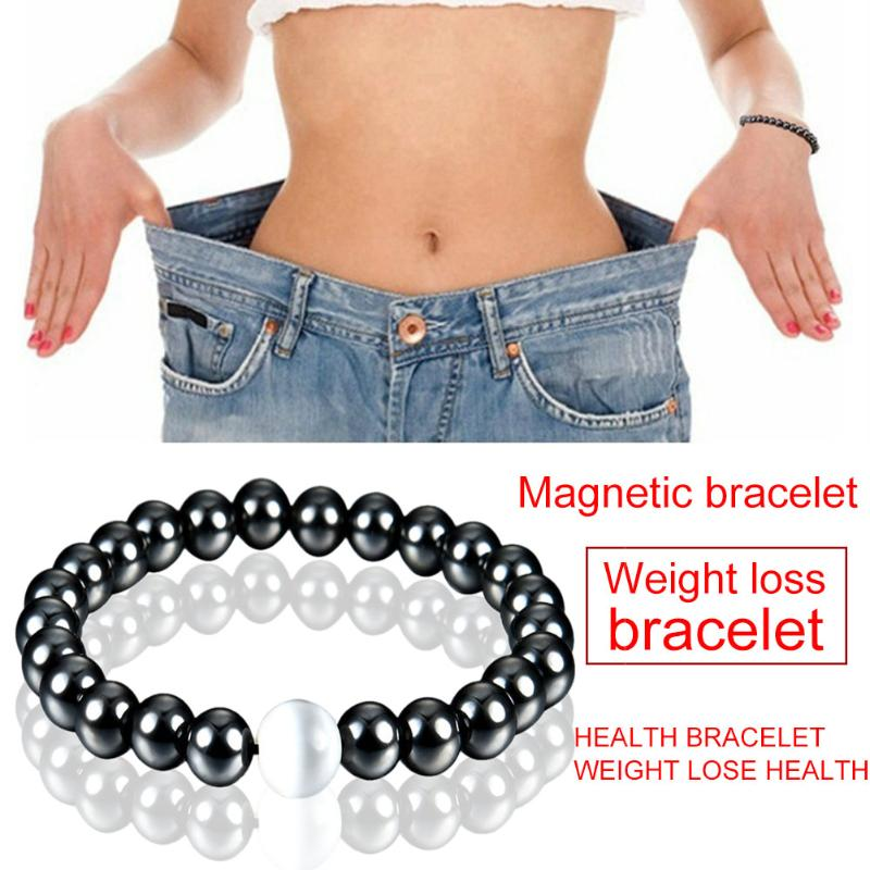 1Pc Weight Loss Round Black Stone Magnetic Therapy Bracelet Health Care Magnetic Hematite  Stretch Bracelet For Men Women 3