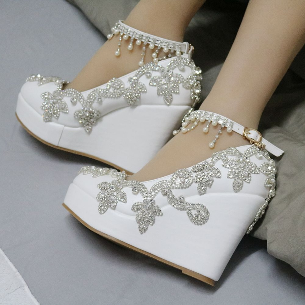 86099d8224ed87 Fashion rhinestone wedges pumps heels wedding shoes for women white platform  wedges high heels wedding shoes white wedges shoes-in Women s Pumps from  Shoes ...