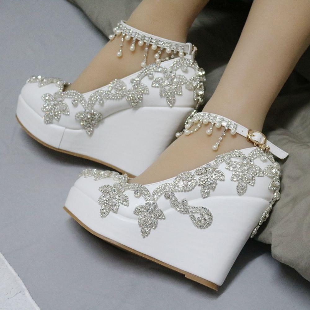Aliexpress Buy Fashion Rhinestone Wedges Pumps Heels Wedding Shoes For Women White Platform High From