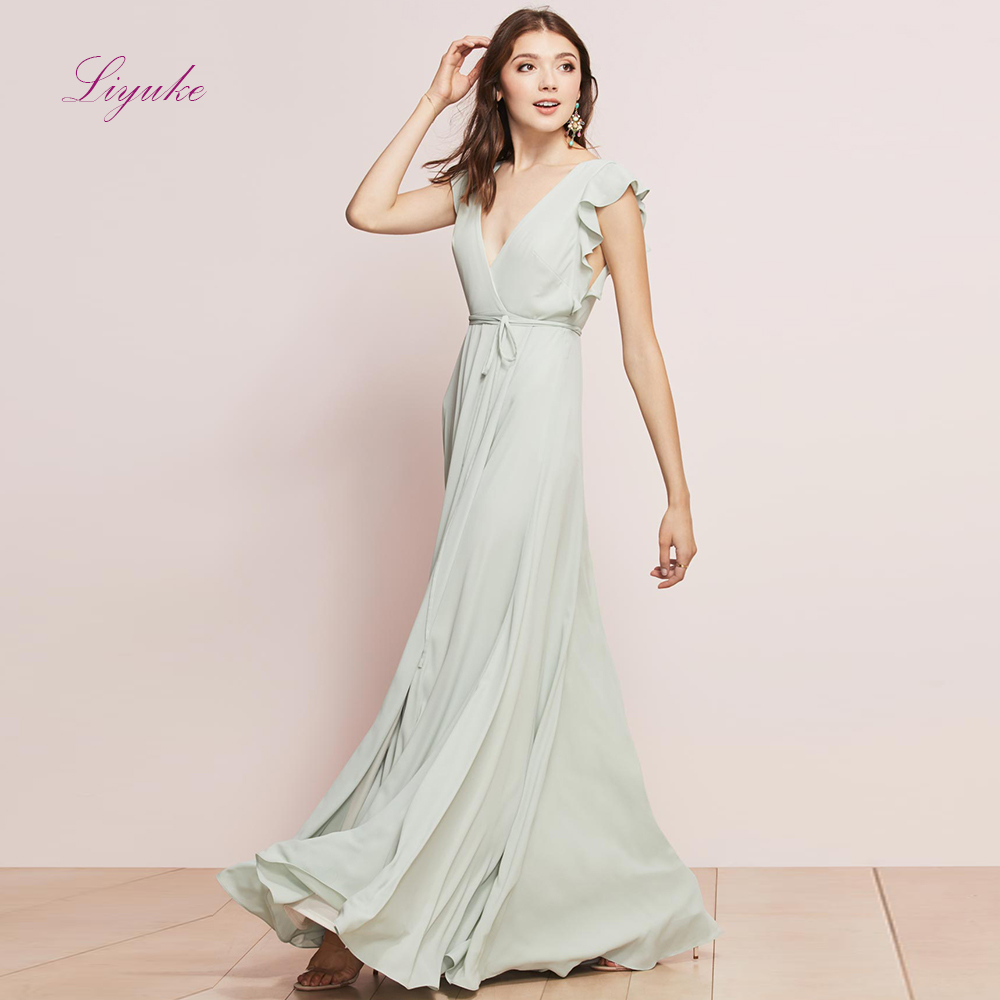 Liyuke A line   Bridesmaid     Dress   Chiffon Long   Dress   Fresh Color V-neck With Cute Sash Custom Made Size Free Shipping