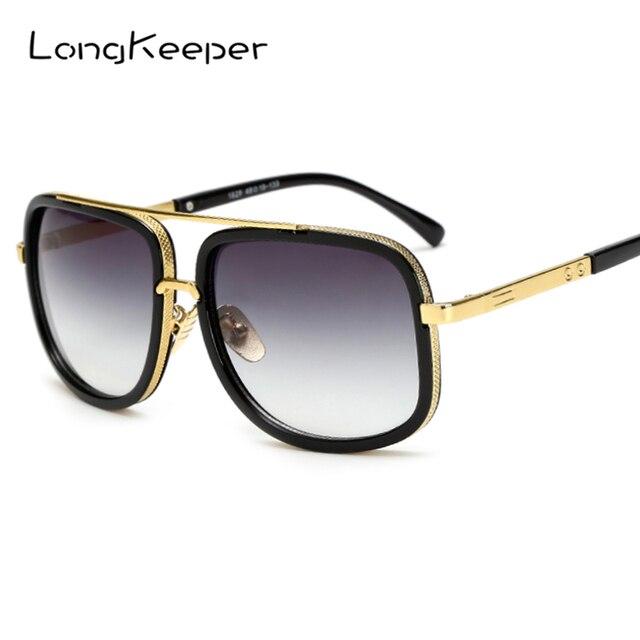 3a8651dc6d LongKeeper Oversized hombres Gafas de sol mujer de lujo marca diseñador  Gafas de sol marco de