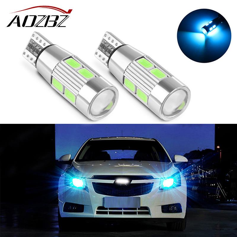 AOZBZ 2PCS Car Auto LED T10 194 168 W5W Canbus 10 SMD 5630 LED Light Bulb No Error LED Light Parking T10 LED Car Clearance Light 2pcs t10 canbus led car light 6smd 5630 auto no error free 12v w5w 194 168 bulb stopturn signal interior parking light