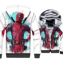 2018 New Deadpool 3D Print Mens Hoodies Gothic Style American Superhero Men Jacket Zipper Thick Outerwear Coat Streetwear Tops