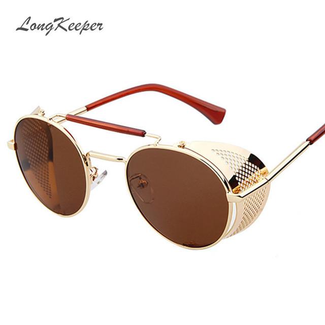 LongKeeper Steampunk Rodada Óculos De Sol para Homens Marca de Design de Metal Óculos Mulheres Óculos Óculos de Sol do Metal Do Punk Ouro Preto 056