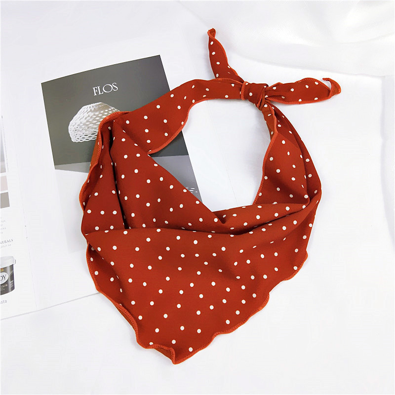 33*85cm Fashion Women Scarf Silk Wraps Elegant Dot Print Head Neck Hair Tie Band Neckerchief Triangle Tie Band Scarf