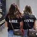 De manga corta t-shirt estilo de la calle de las hermanas de la Camiseta