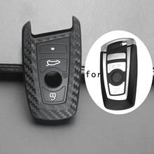 Jingyuqin silikonowego z włókna węglowego samochodów klucz Case Fob pokrowiec na BMW 520 525 F30 F10 F18 118i 320i 1 3 5 7 serii X3 X4 M3 M4 M5 tanie tanio Żel krzemionkowy