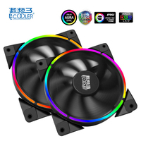 Pccooler Halo 12cm Case Cooler Fan 4 Pin PWM With RGB LED Light Support ASUS AURA