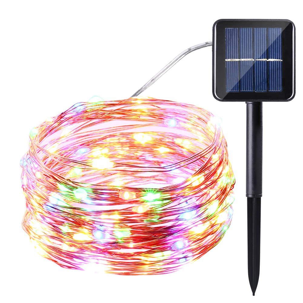 New Year Led Outdoor Solar Lamps 12m 100 Led String Lights Fairy Holiday Christmas Party Garlands Solar Garden Waterproof Lights Outdoor Lighting