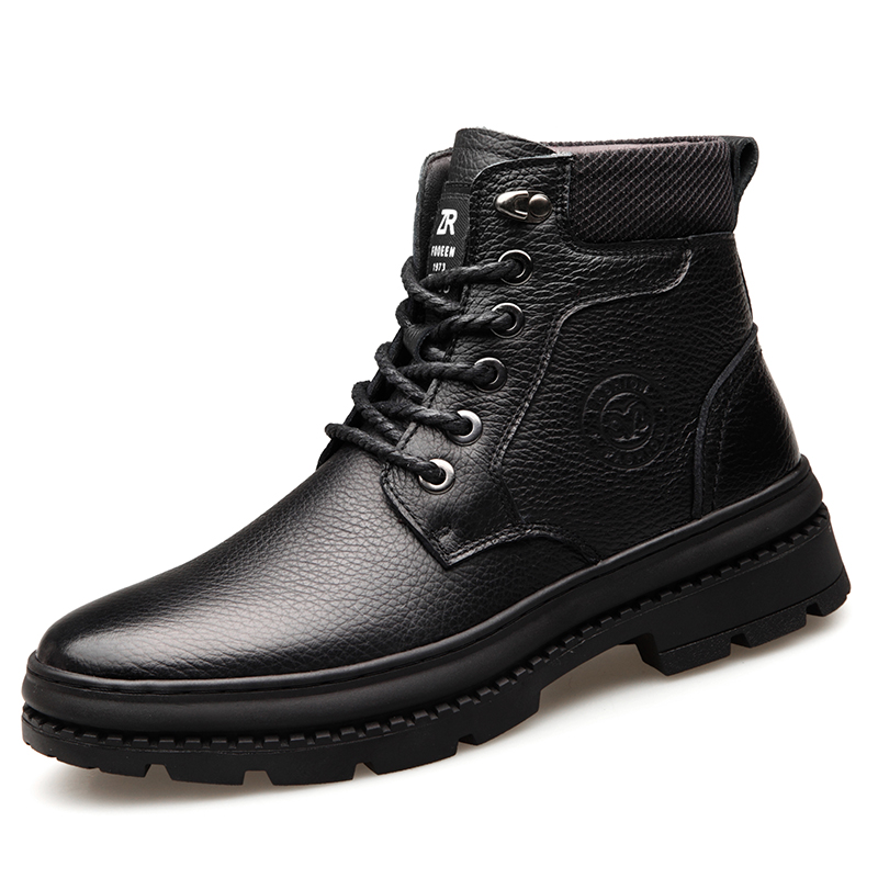 2019 Winter Man Snow Boots High Quality Genuine Leather Shoes Real Wool Inner Anti-slip Waterproof Boots 38-44 Man Snow Boots