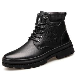 2019 inverno homem botas de neve de alta qualidade sapatos de couro genuíno lã real interno anti-deslizamento botas impermeáveis 38-44 homem botas de neve