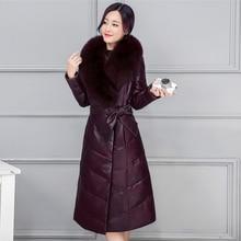 4XL Big Fur Collar Women Winter Coat 2018 New Faux Leather Female Jacket X-Long Warm Women Outwear Parkas Slim Snow Wear qx428