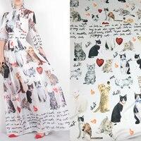 2 8m Small Cat Printed Soft Silk Satin Fabric Summer Long Dress Imitate Silk Satin Fabric