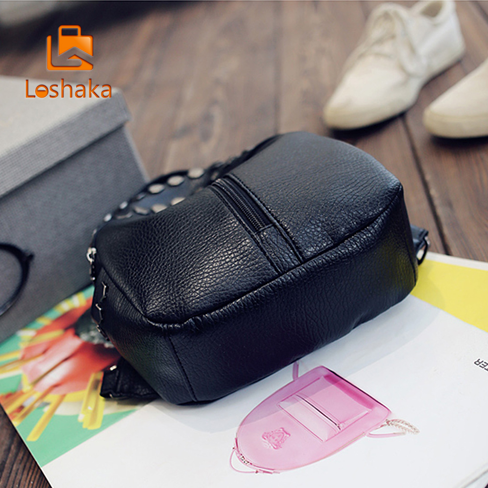 Loshaka Small Women Backpacks Rivet Zipper Pu Leather Student Backpack Preppy Fashion Bag Girls Women's Backpack #4