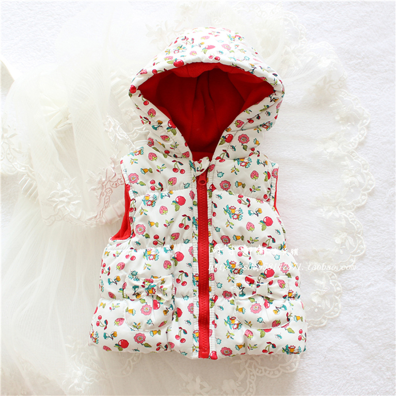Free Shipping 2017 New Brand Baby Girls Clothing Hot Sale Baby Girls Cute Printing With A Hat Cotton Vest Baby Girls Waistcoat
