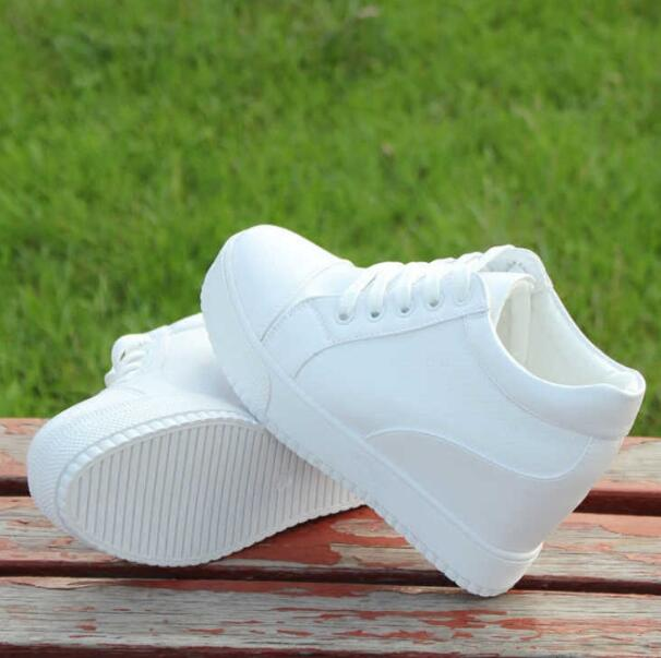 Black White Hidden Wedge Heels Sneakers Casual Shoes Woman High Platform Shoes Women's High Heels Wedges Shoes For Women