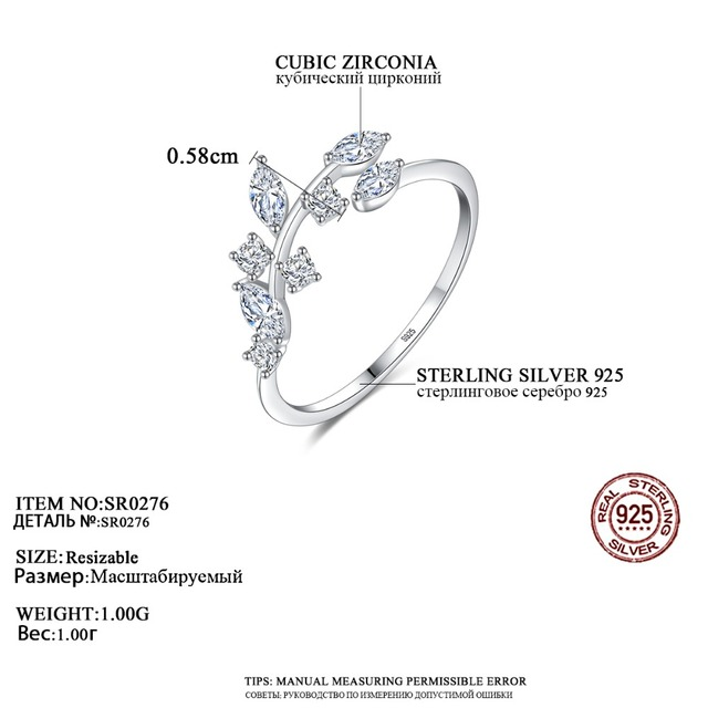 CZCITY Korean 925 Sterling Silver Handmade Olive Leaf Rings for Women Exquisite CZ Stone Adjustable Open Ring Silver 925 Jewelry 3
