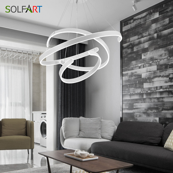 Adjustable Dimming Pendant Lights For Dining Room Bar Loft LED White Hanging Lamp With Remote Control