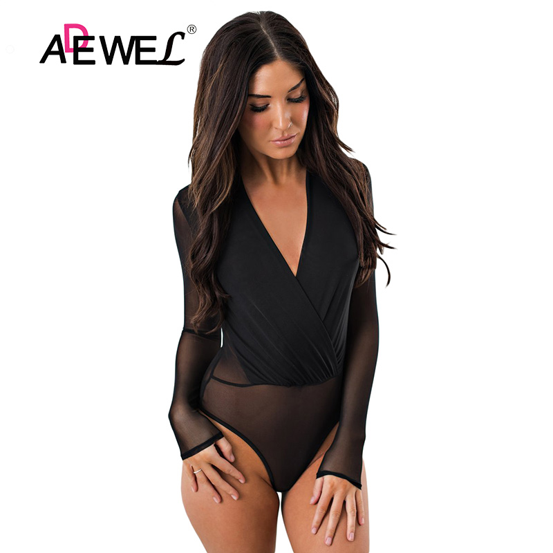 ADEWEL Black Mesh Transparent Women Skinny Long Sleeve Bodysuit Sexy Deep V neck Body Suits Jumpsuit Overalls Mujer Club Wear