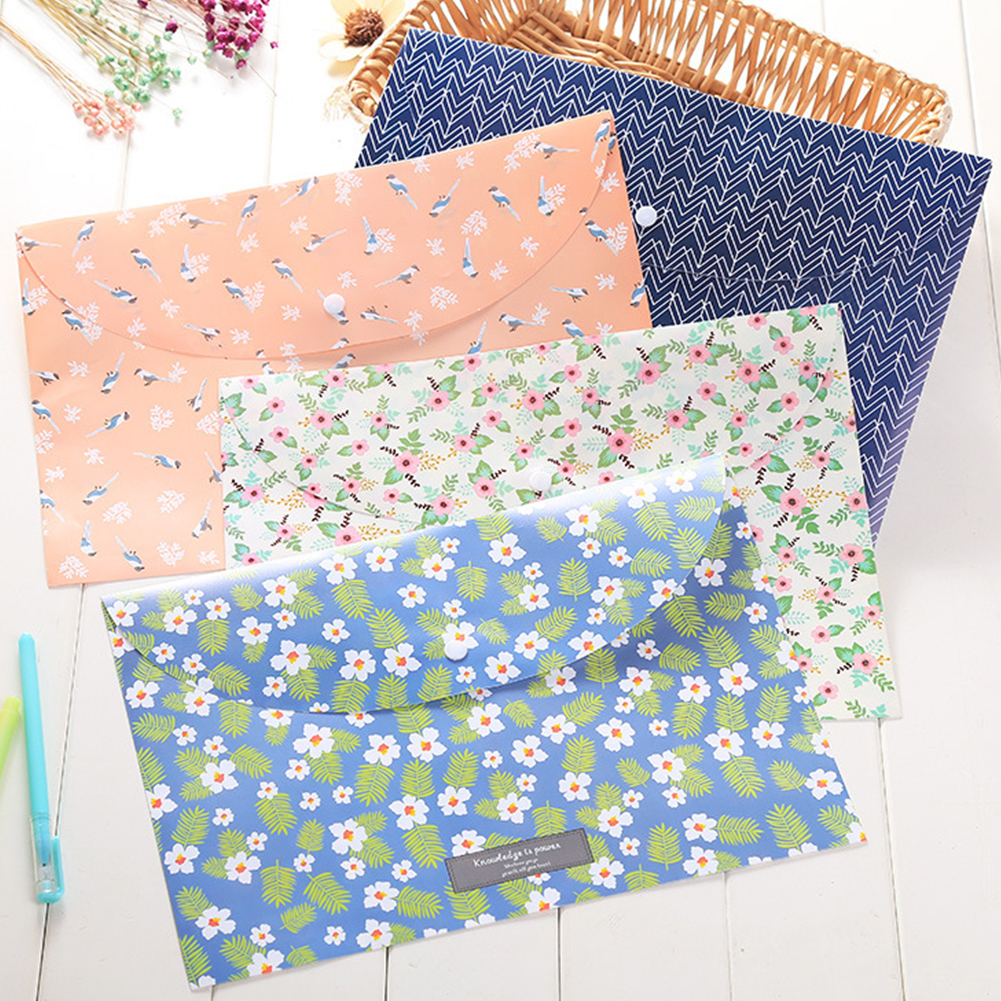 Lightweight Durable Folders Expand Stylish Cute Floral File Bags School Document Organizer Office Portable Folders