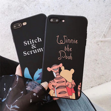 GYKZ Cartoon Bear Stitch Tiger Soft Case For iPhone XS MAX XR X 7 6 6s 8 Plus Silicone Black Phone Cover Capa