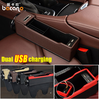 USB Car Seat Organizer Crevice Storage Box Bag Cup Drink Holder Auto Gap Pocket Stowing Tidying For Phone Interior Accessories