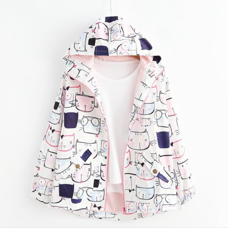 2017 Spring Harajuku Japanese Style Anime Cat Printed Autumn Women Windbreaker Ulzzang Kawaii Hooded Jacket