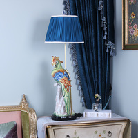 Luxurious Modern Pastoral Hand Painted Ceramic Parrot Led E27 Copper Table Lamp For Living Room Bedroom Wedding Decoation