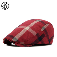 89e9b119df4 FS Unisex Classic Plaid Berets Caps For Men Casual Cotton Flat Cap Women  Newsboys Gatsby Casquette