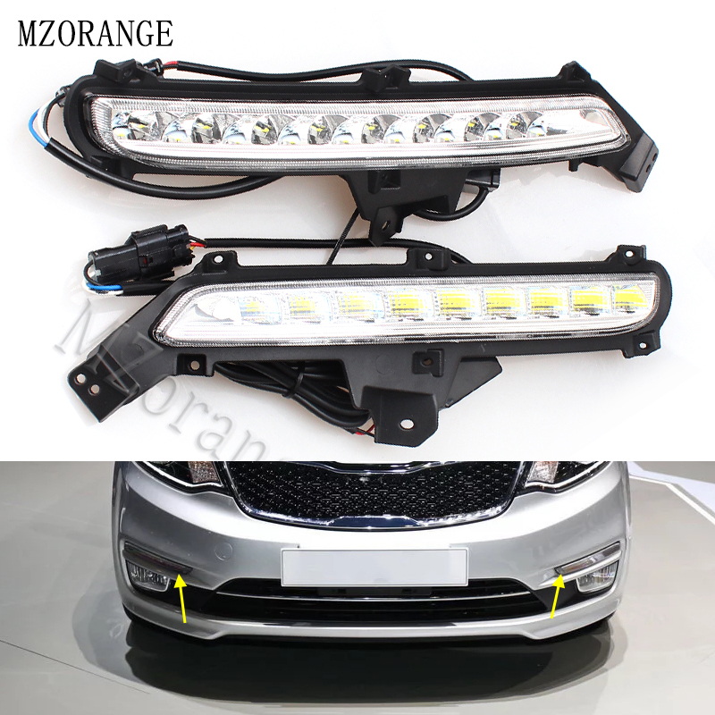MZORANGE 2PCS LED Daytime Running Light For Kia Rio K2 2015 2016 Yellow Turn Signal Relay Waterproof ABS DRL Fog Lamp Decoration image