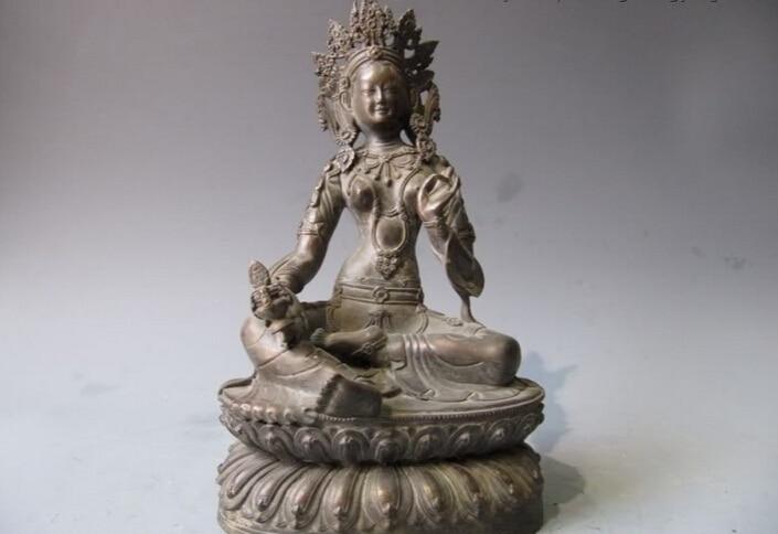 Fast Shipping USPS To USA S2944 11 Tibet Folk Buddhism Bronze Green Tara Kwan-Yin Guan Yin Bodhisattva Statue