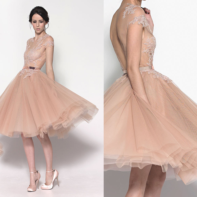 New Fashion Romantic Cheap Short Tulle Champagne Cocktail Dresses ...