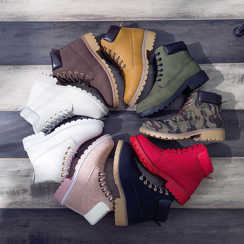 ERNESTNM 2019 Autumn Winter Shoes Women Plush Snow Boot Heel Fashion Keep Warm Women's Boots Woman Size 36-42 Ankle Botas Pink