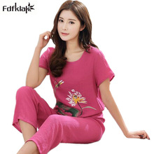 4XL 3XL 2XL XL Cotton linen pajamas women print short sleeve summer sleepwear pijamas set plus size pyjama women home clothes