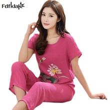 Kvalitní bavlněný set na spaní – kalhoty a tričko s dlouhým rukávem, velikost XL – 4XL