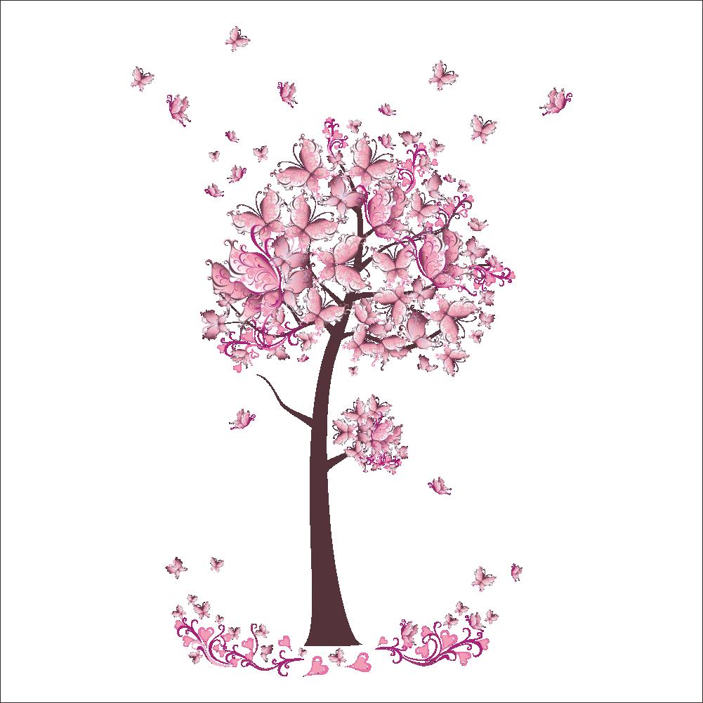 Rosa Schmetterling blume baum wandaufkleber Wohnzimmer Schlafzimmer ...