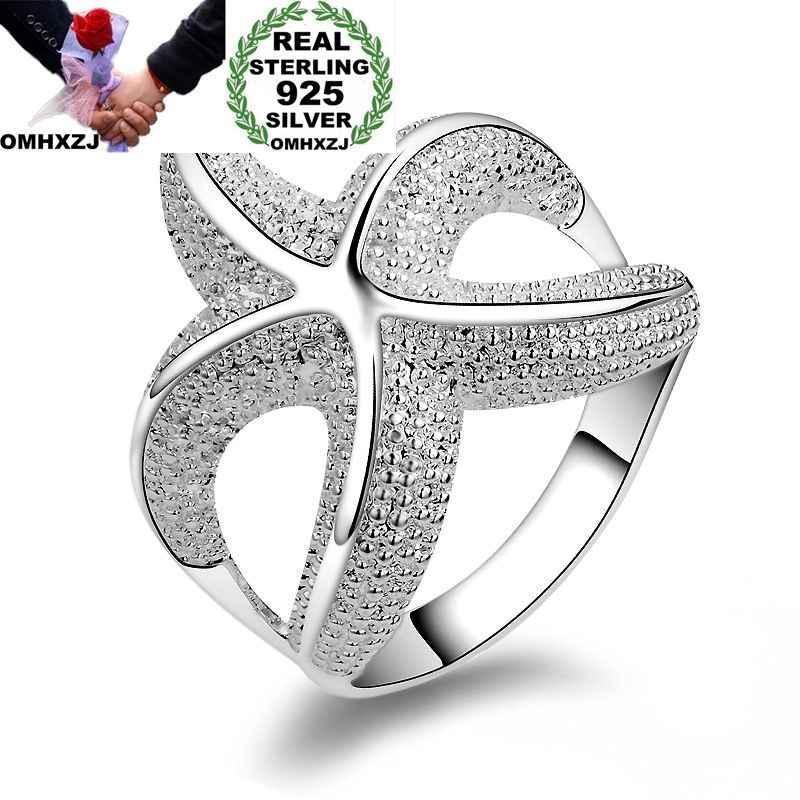 OMHXZJ Оптовая Личность Мода OL женщина вечерние партии свадебный подарок серебро Морская звезда 925 пробы Серебряное кольцо RN274