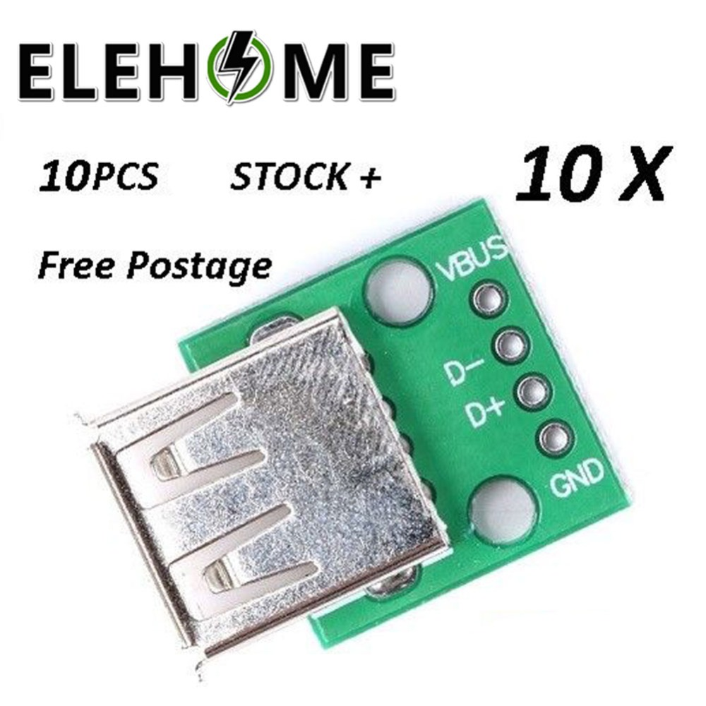 10pcs USB 2.0 female DIP 4p inline adapter board Type A Female USB To DIP 2.54mm PCB Board Adapter Converter Connector XF3010pcs USB 2.0 female DIP 4p inline adapter board Type A Female USB To DIP 2.54mm PCB Board Adapter Converter Connector XF30