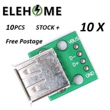 10pcs USB 2.0 female DIP 4p inline adapter board Type A Female USB To DIP 2.54mm PCB Board Adapter Converter Connector XF30 35pcs 7value 5pcs pcb board kit smd turn to dip adapter converter plate sop msop ssop tssop sot23 8 10 14 16 20 24 28 smt to dip