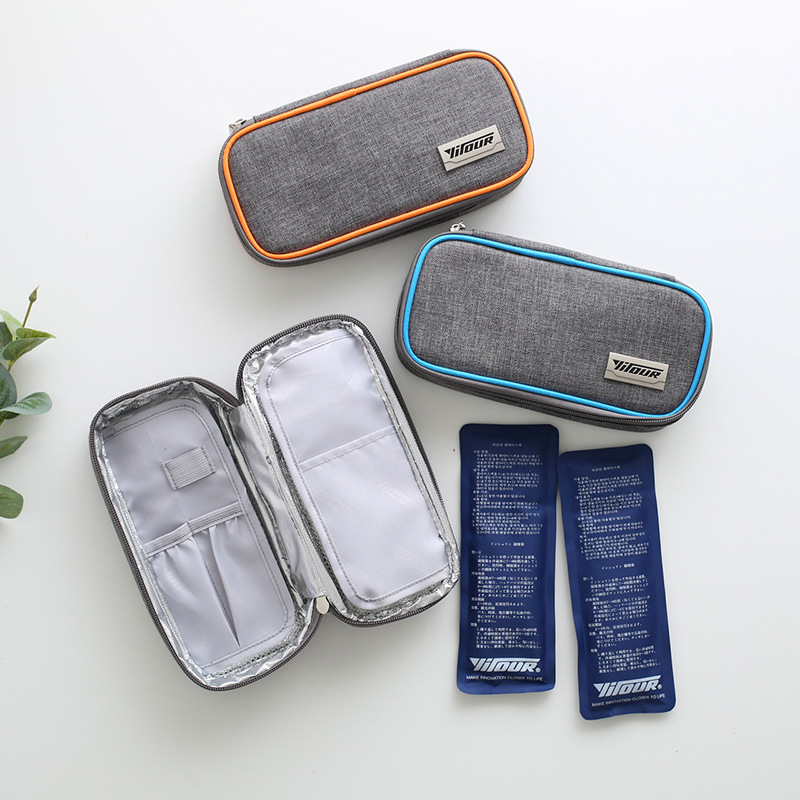 Medical Insulated Bag Waterproof Portable Insulin Cooling Bag Ice Pack Thermal Cooler Bag Refrigerator 1 Box Of 2 Ice Packs