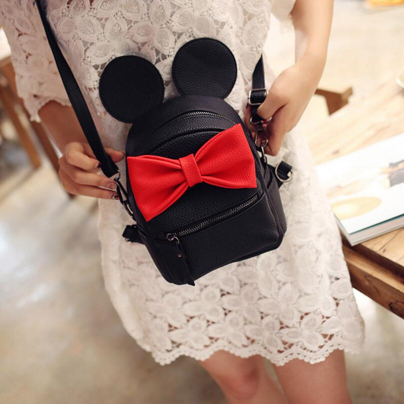 Mickey Backpack 2017 New PU leather Women's bag <font><b>Teen</b></font> <font><b>Girls</b></font> Backpacks Cute Animals ears Sweet Bow Wild School Female Mickey Bag image